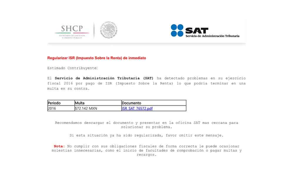 Alertan por falso correo del SAT para cometer fraudes