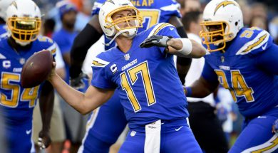 San Diego Chargers quarterback Philip Rivers warms up before an NFL football game between the San Diego Chargers and the Denver Broncos Thursday, Oct. 13, 2016, in San Diego. (AP Photo/Denis Poroy) ORG XMIT: CAGB