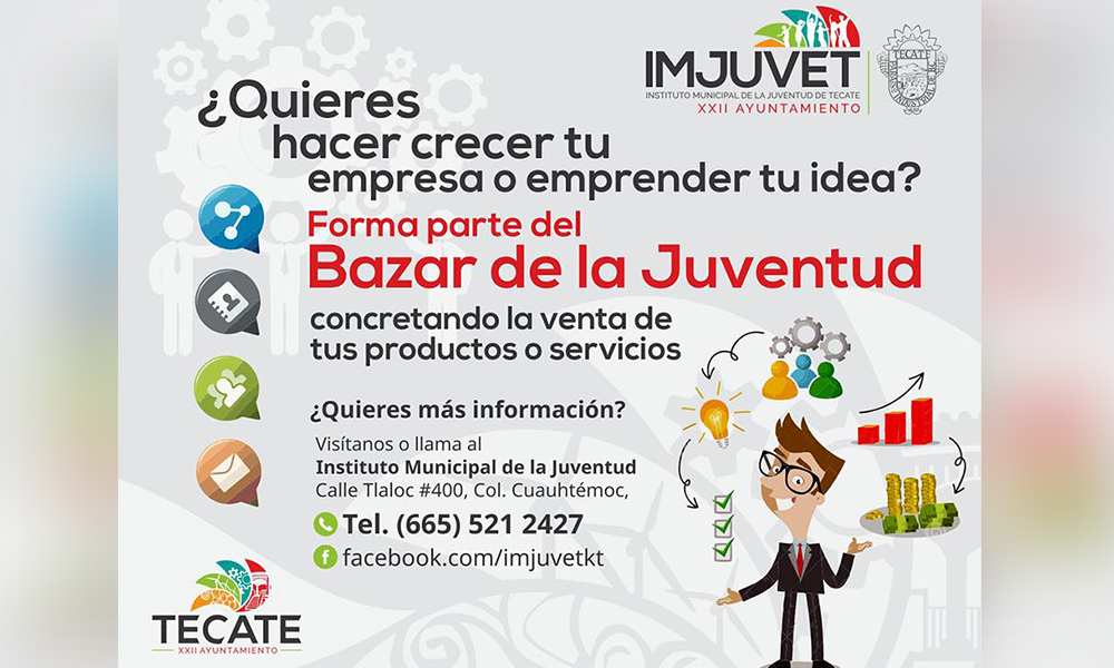 Anuncia Imjuvet Bazar de la Juventud en Tecate