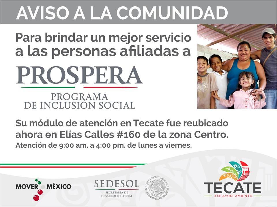 Oficinas de prospera en Tecate tienen nueva ubicación