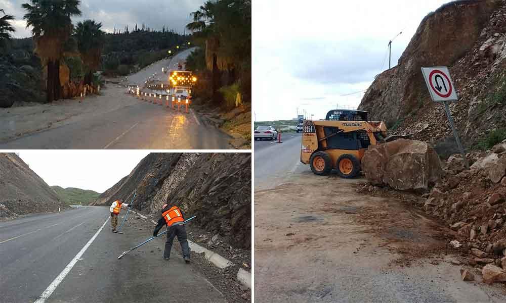 Más de 37 incidentes en carreteras federales tras pasada la tormenta en Baja California