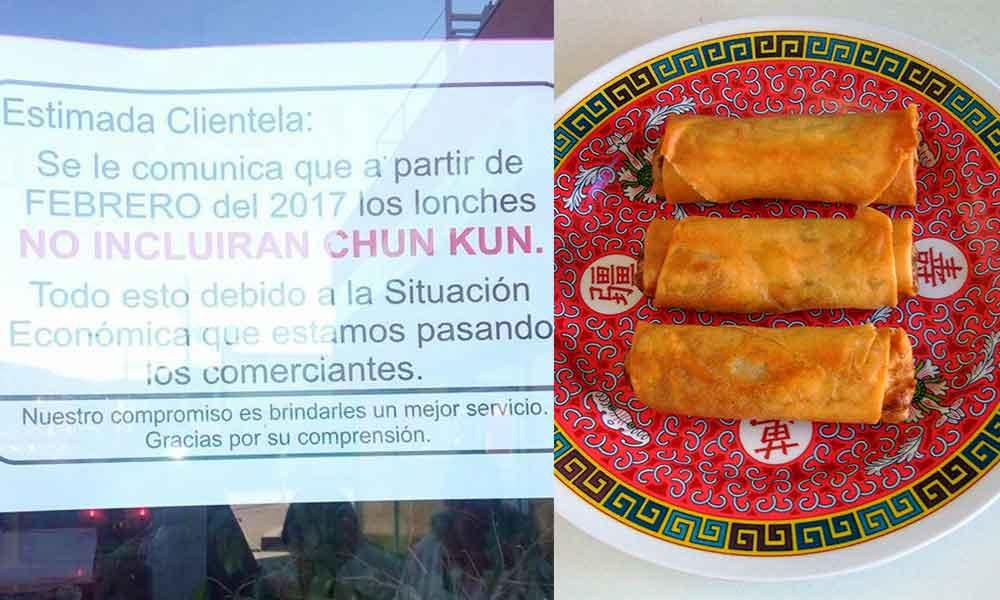 Tras gasolinazo, lonches de comida china ya no incluirán Chun kun