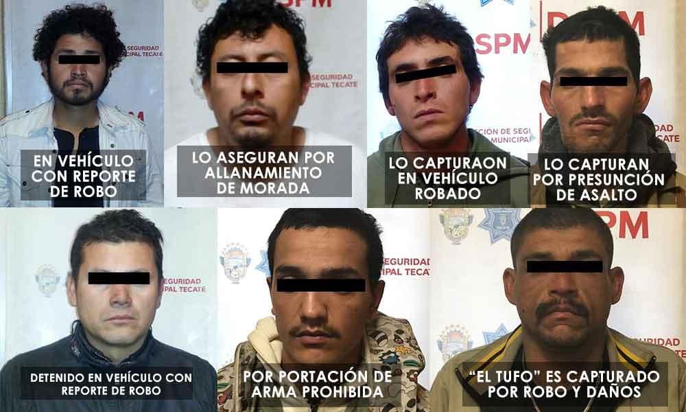 Detenidos por diversos delitos en Tecate