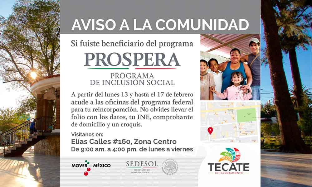 PROSPERA abre fecha para reincorporar a beneficiarios en Tecate