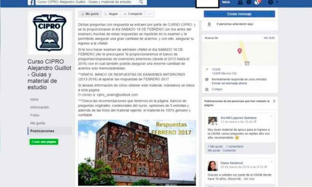 Venden en Facebook respuestas de examen de ingreso a la UNAM