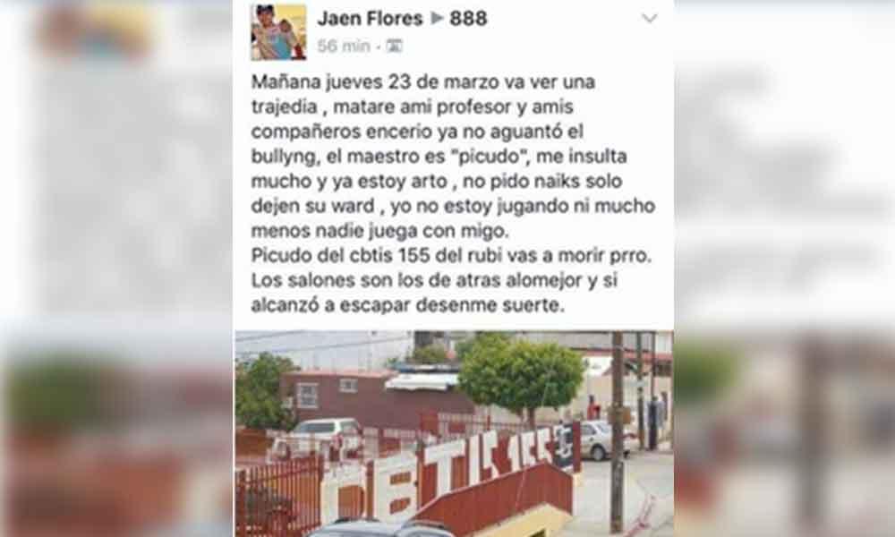 Amenaza de masacre causa pánico en CBTIS 155 de Tijuana