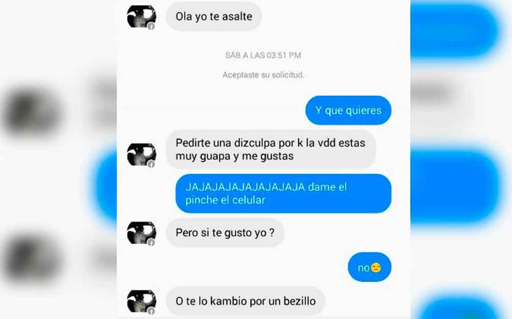 Asaltante intenta enamorar a víctima, con el celular que le robó