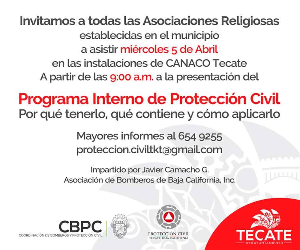 Capacitará Protección Civil a iglesias en prevención de emergencias