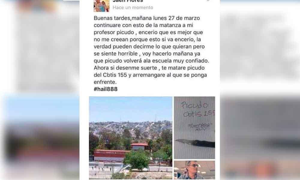 Continúan amenazas de masacre en escuelas de Tijuana