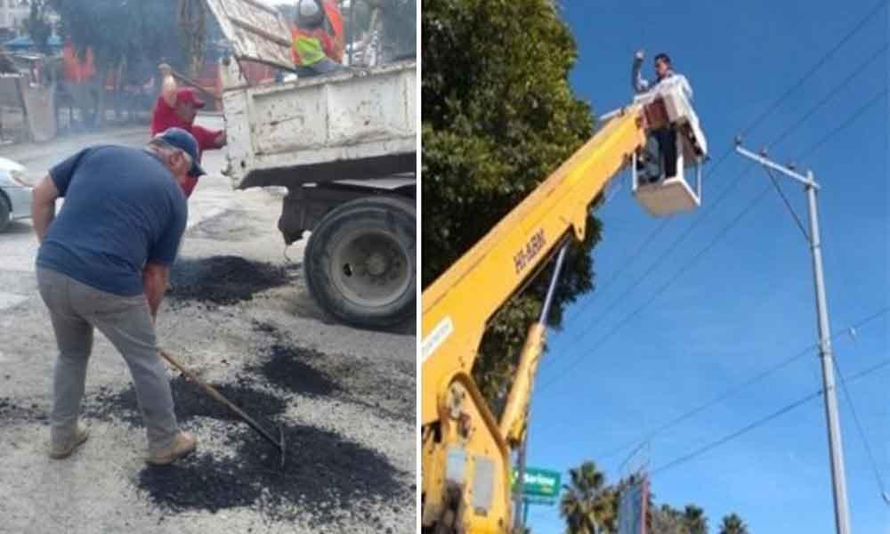 Trabaja Ayuntamiento en programa de bacheo y reparación de luminarias