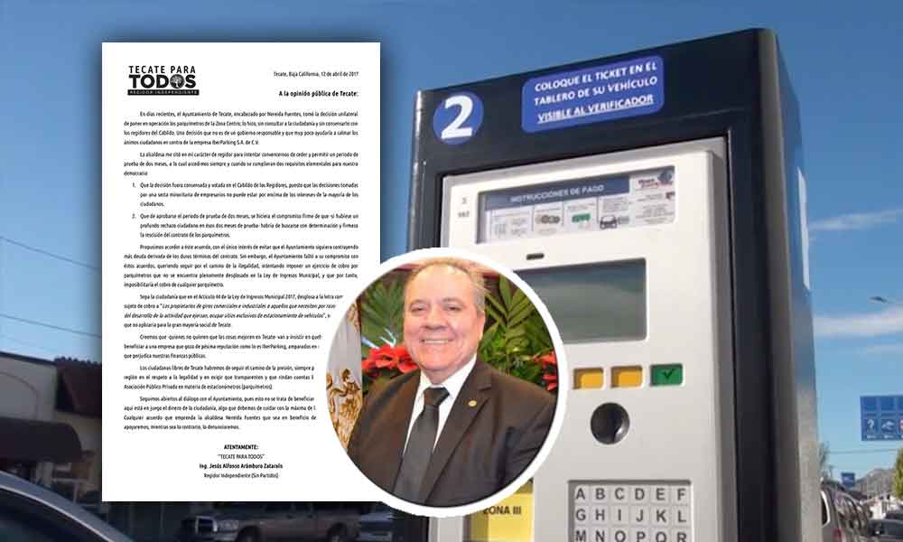 Regidor Independiente emite posicionamiento ante la entrada en vigor de parquímetros en Tecate