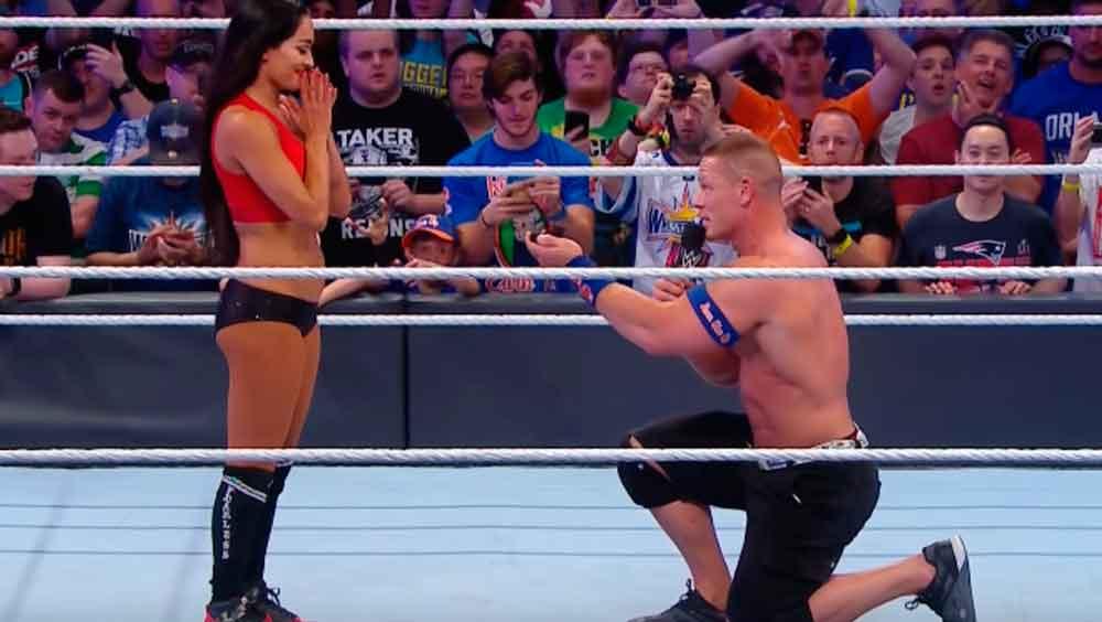 ¡Le dio el sí! John Cena le pidió matrimonio a Nikki Bella en WrestleMania 33