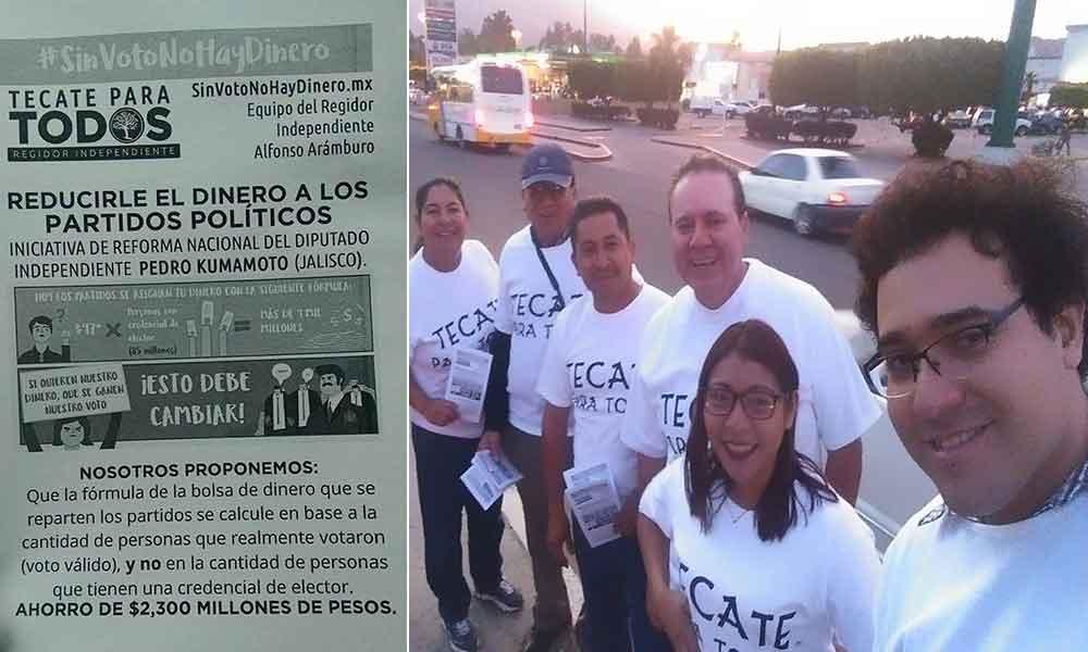 Realiza Regidor Independiente volanteo a favor de iniciativa de reducir presupuesto a partidos políticos