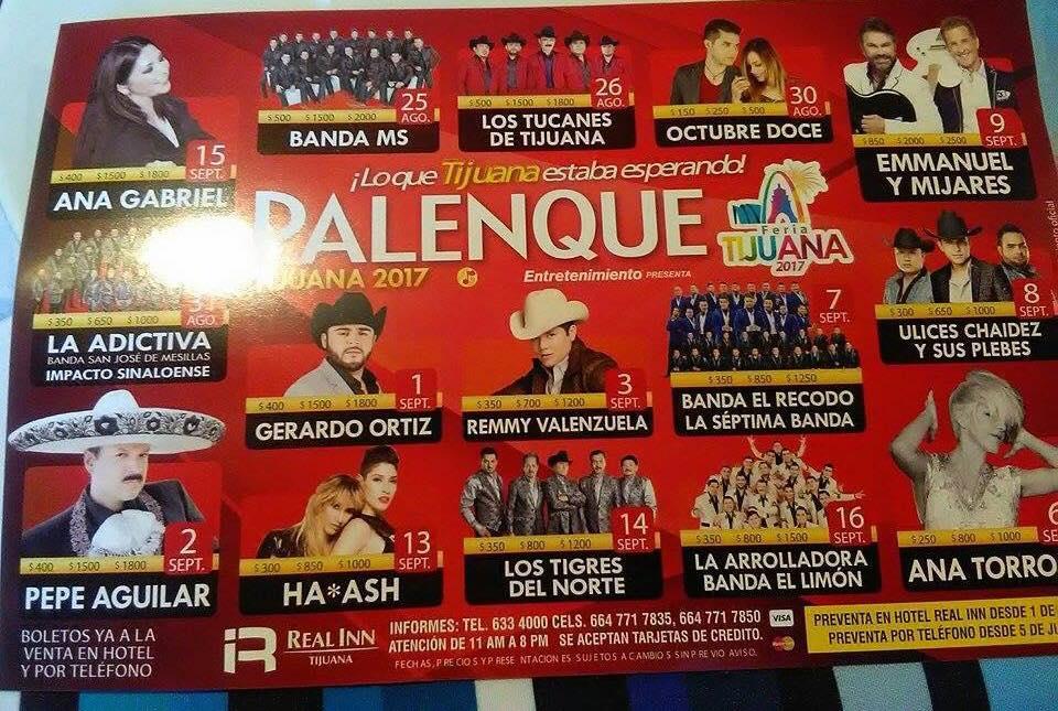 Cancelan concierto de Los Tucanes de Tijuana y Gerardo Ortíz en Palenque de Tijuana 2017