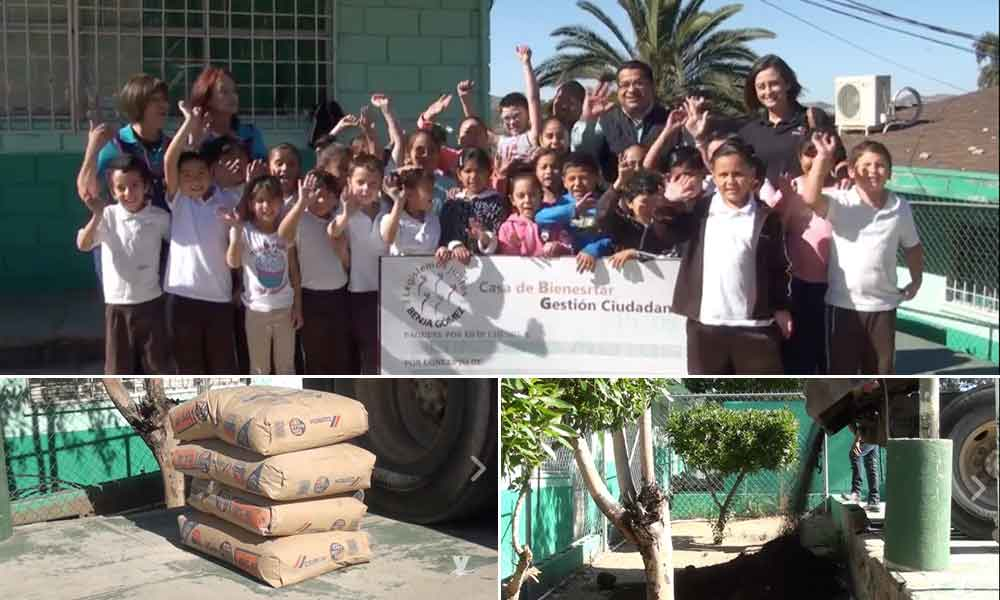 Entrega Diputado Benja Gómez apoyo en material para Primaria Bocanegra en Tecate