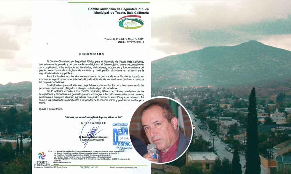 Rechaza Comité Ciudadano de Seguridad actos de violencia por parte de policías en Tecate
