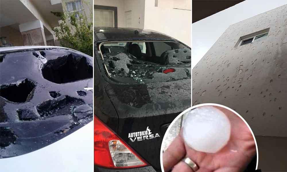 Enormes bolas de granizo destrozan automóviles y casas en Chihuahua