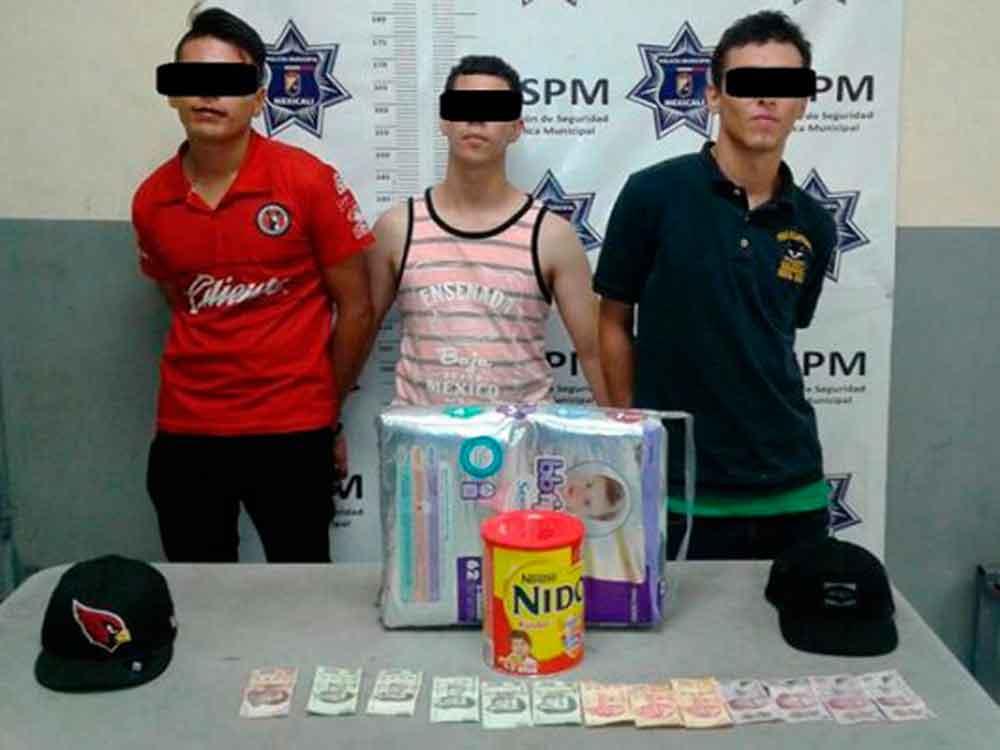 Capturan a tres por robo con violencia; llevaban leche y pañales