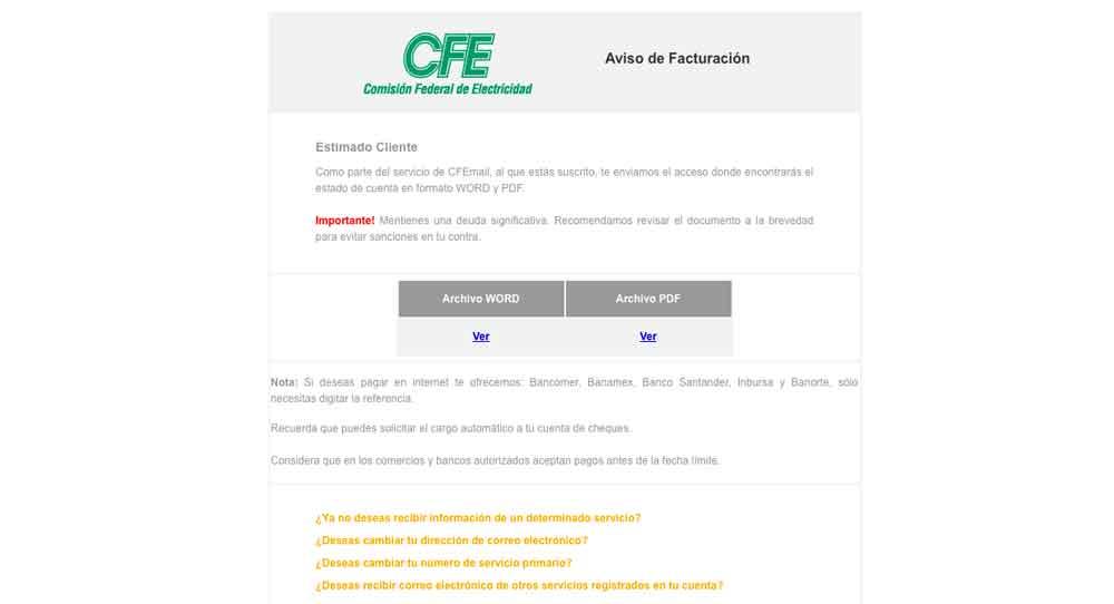 ¿Te ha llegado un correo de CFE?