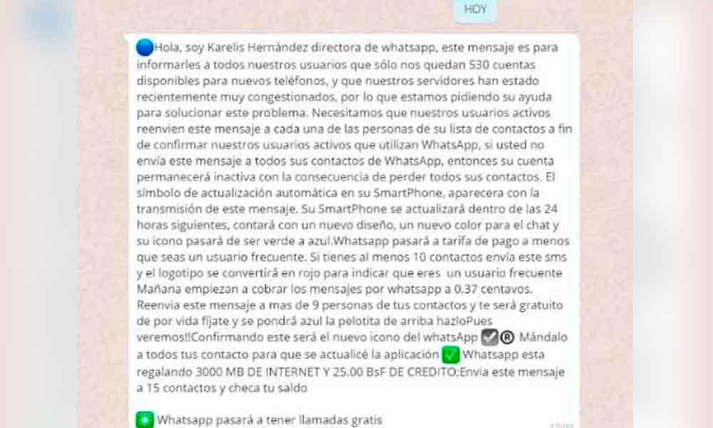 Se viraliza falso mensaje de whatsApp ¿Lo recibiste?