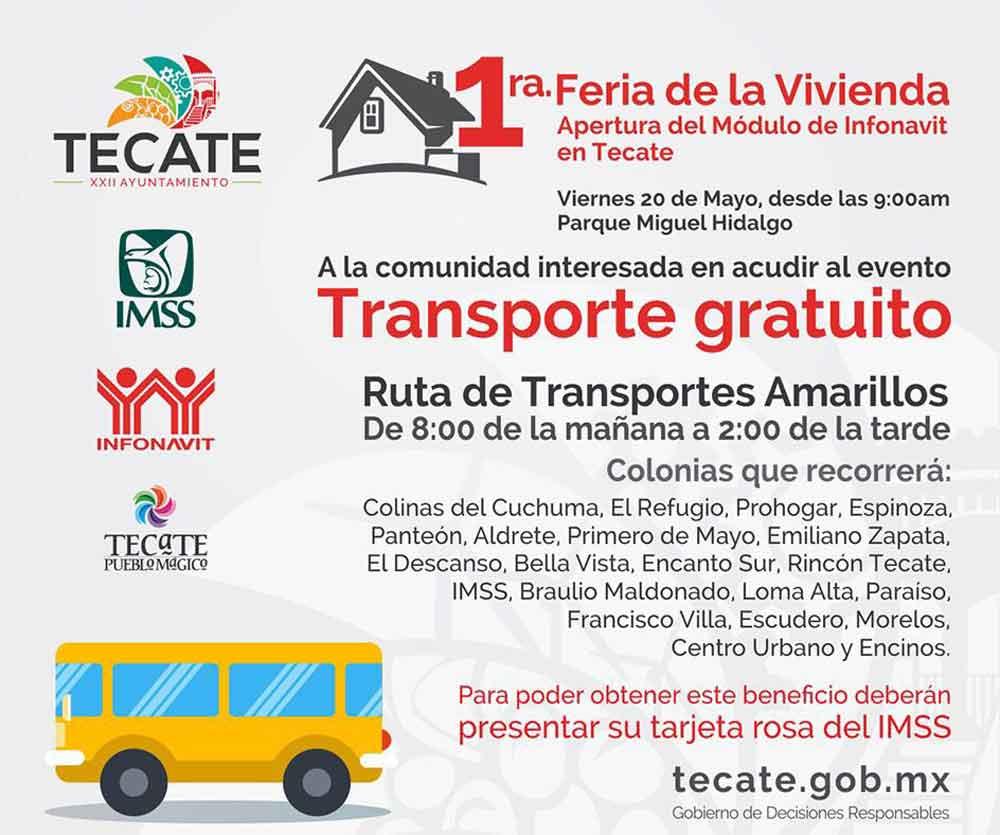 Facilitarán transporte para la feria de la vivienda en Tecate