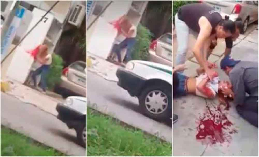 Joven mujer se golpea la cabeza contra un muro