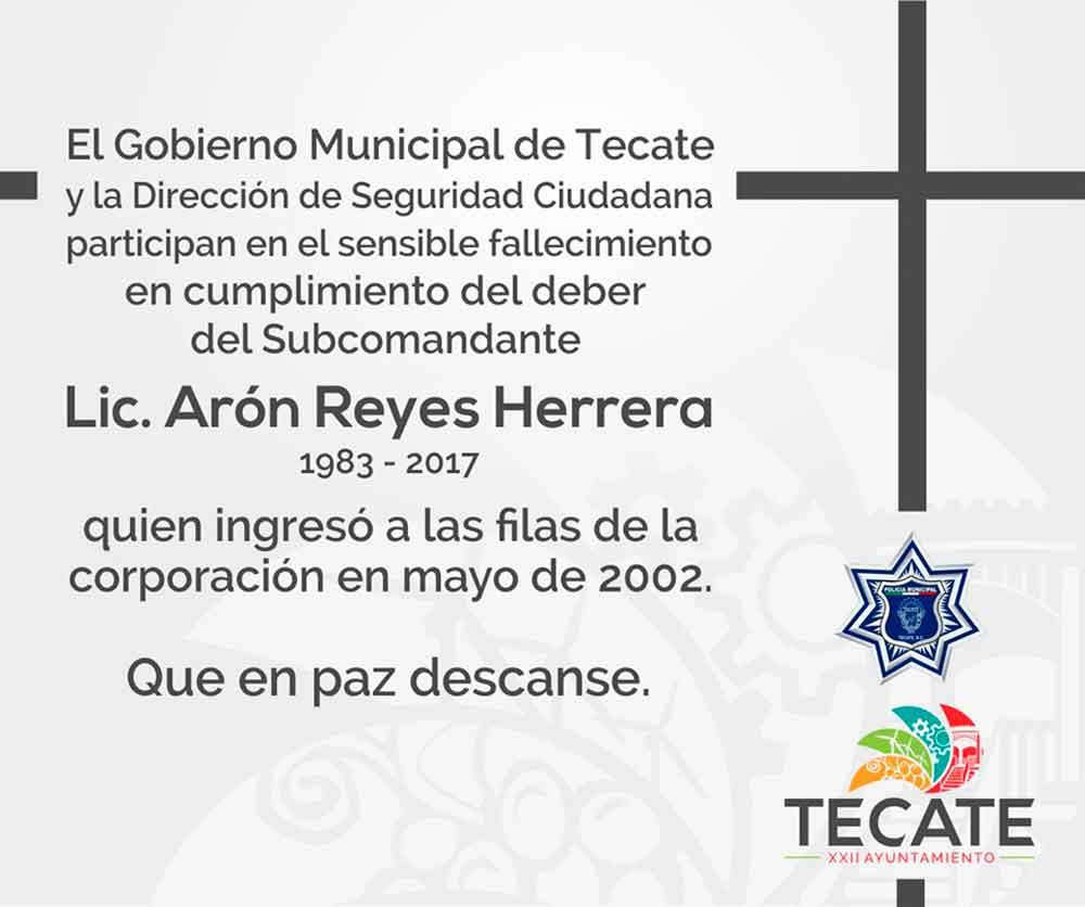 Lamenta Gobierno de Tecate fallecimiento de oficial