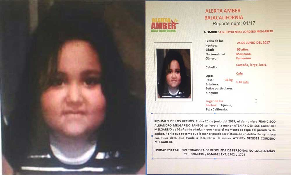 ¡Urgente! Menor de 5 años fue sustraída de su hogar en Tijuana, activan Alerta Amber