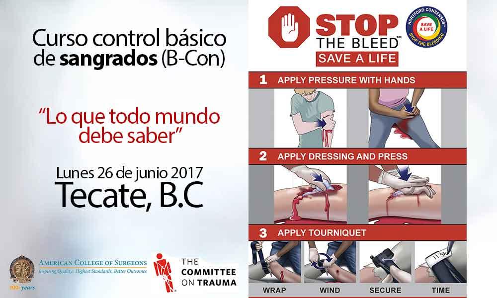 Invitan a curso de control básico de sangrados en Tecate