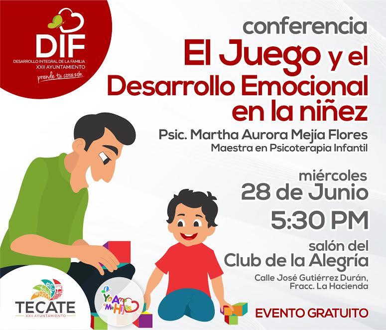 """Dará DIF Tecate conferencia """"El juego y el desarrollo emocional en la niñez"""""""