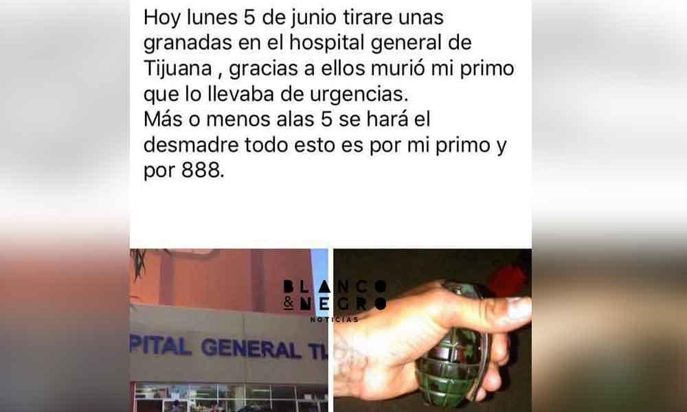 Difunden amenaza de atentado en Hospital General de Tijuana