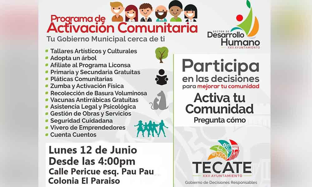 Ayuntamiento llevará el Programa de Activación Comunitaria a la colonia El Paraíso