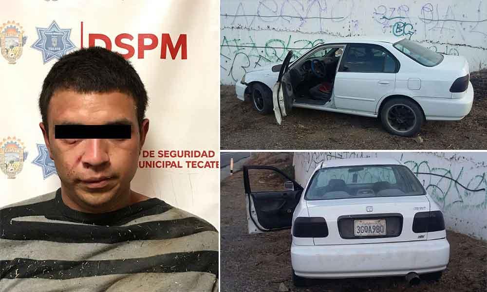 Detenido en persecución por robo de vehículo en Tecate