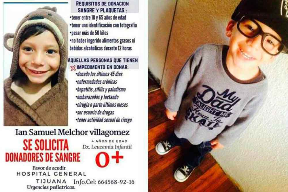 Urgen donadores de sangre para niño con cáncer en Tijuana