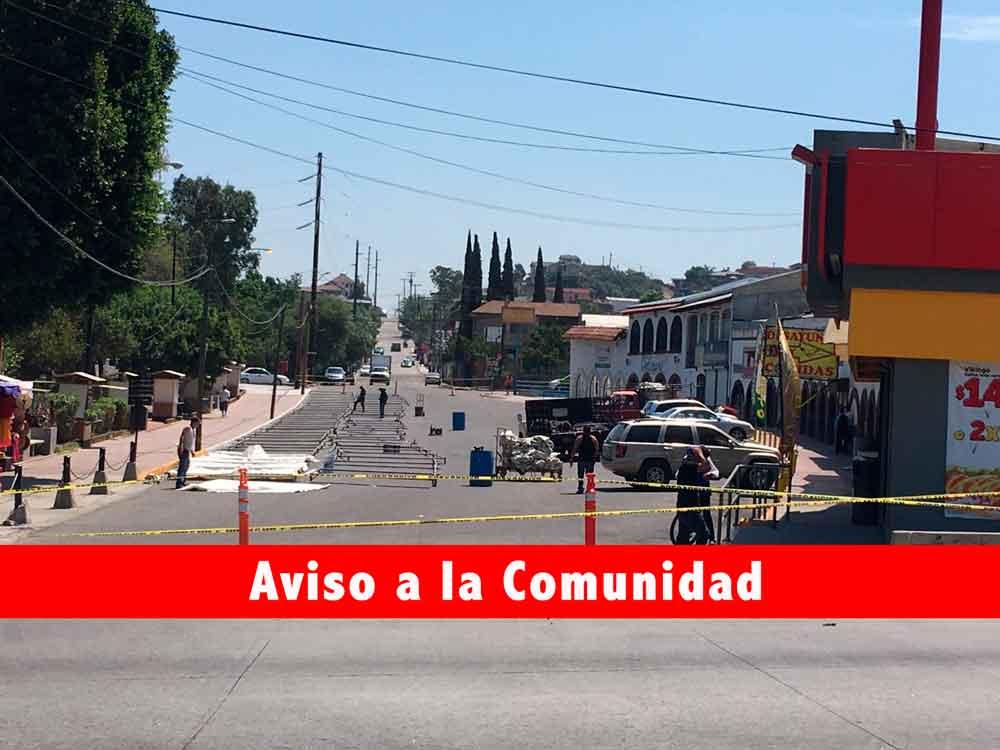 Anuncian cierre de vialidades en Tecate