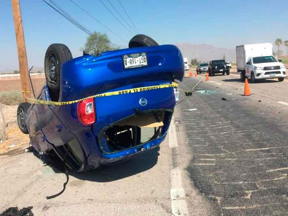 Muere mujer en fatal volcadura en carretera Mexicali-Tijuana
