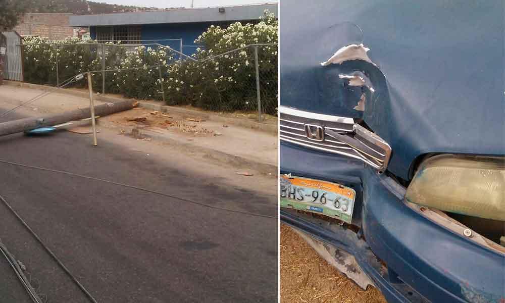 Conductora choca contra un poste y deja sin luz a Fraccionamiento Santa Anita