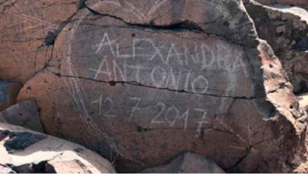 Buscan a pareja que grabó su amor en piedra antigua