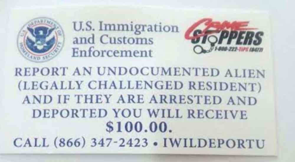 Regalan 100 dólares a quienes denuncien a indocumentados en Texas