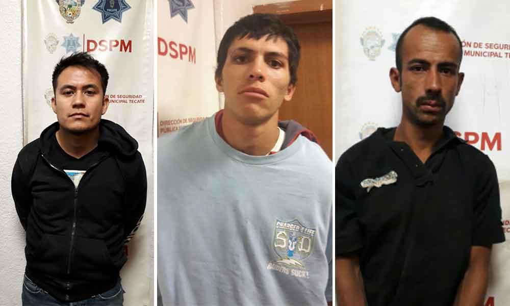Sujetos detenidos en Tecate por diversos delitos, si los reconoces denúncialos