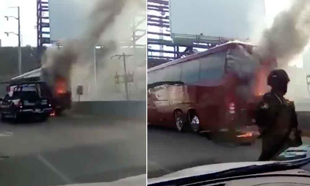 Se incendia el Autobús del Necaxa con Jugadores a bordo
