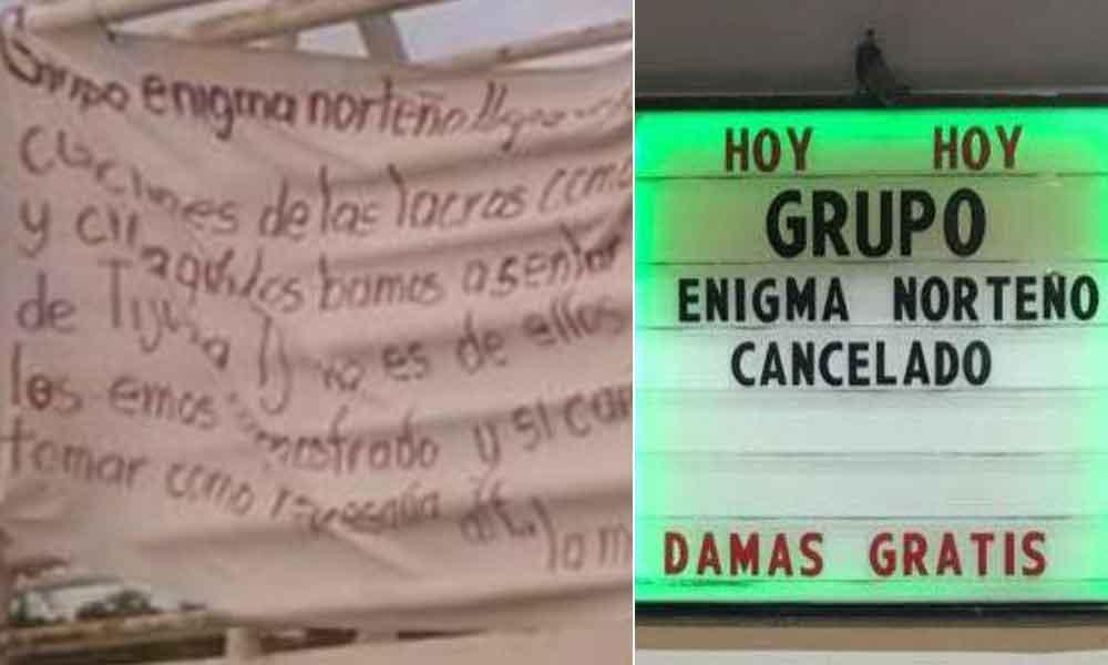 Amenazan con narcomanta a grupo Enigma Norteño en Tijuana