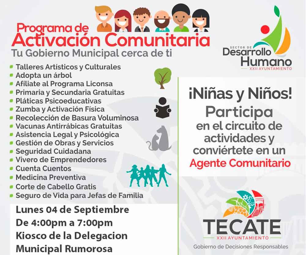 Ayuntamiento llevará el Programa de Activación Comunitaria a La Rumorosa