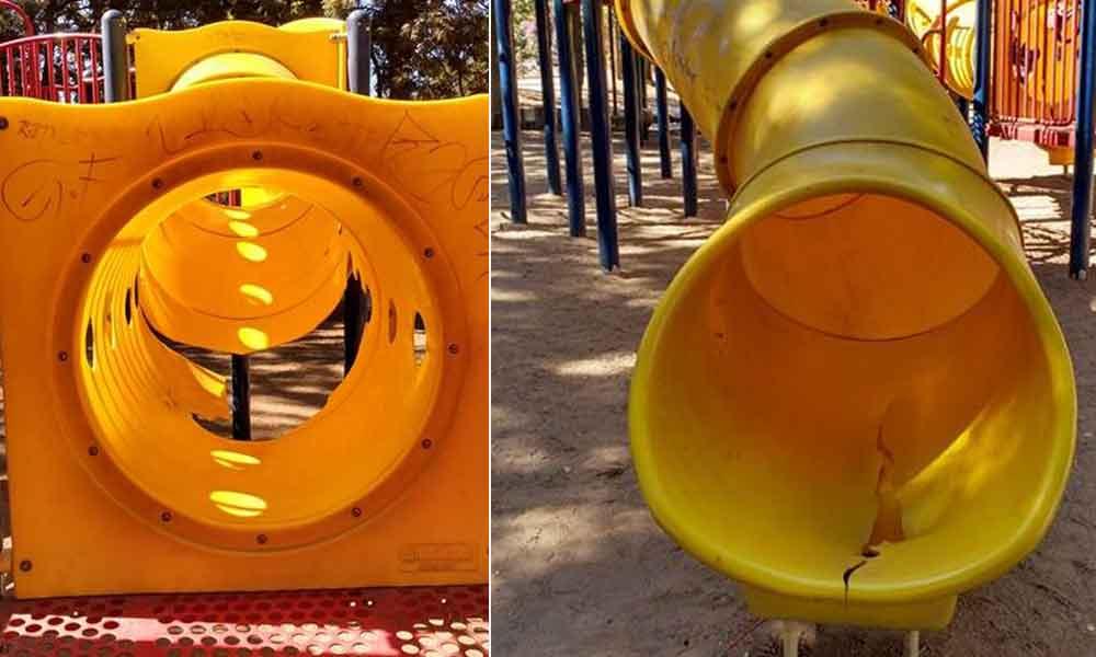 Denuncian mal estado de juegos infantiles en Parque Los Encinos