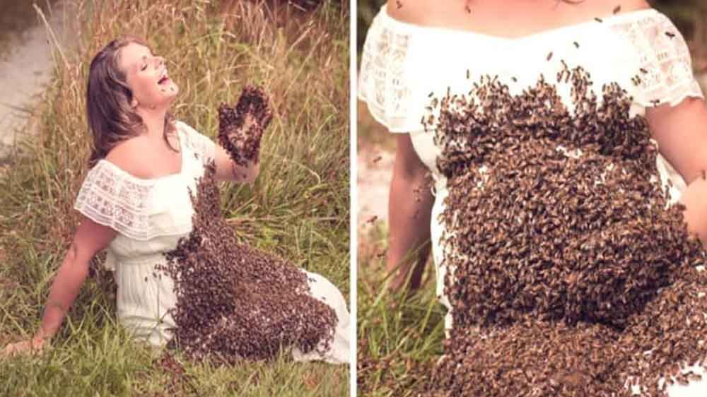 Muere bebé de mujer que posó con 20,000 abejas en vientre