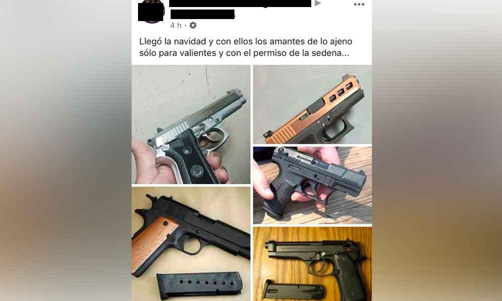 Denuncian venta de armas en Tijuana a través de redes sociales