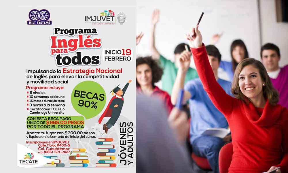 Disponibles 5 mil becas del 90% para aprender inglés en Tecate
