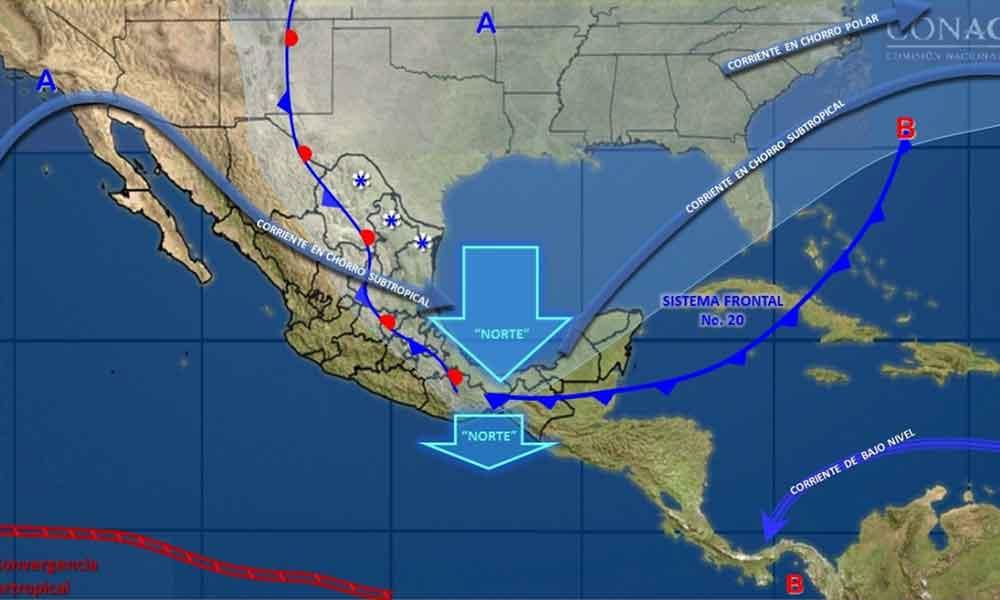 Sistema frontal 20 provocará frío, lluvia y viento