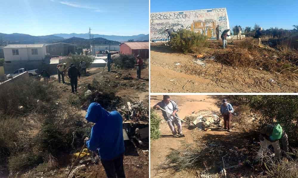 Recuperan espacios en Tecate con jornadas de limpieza en Santa Anita