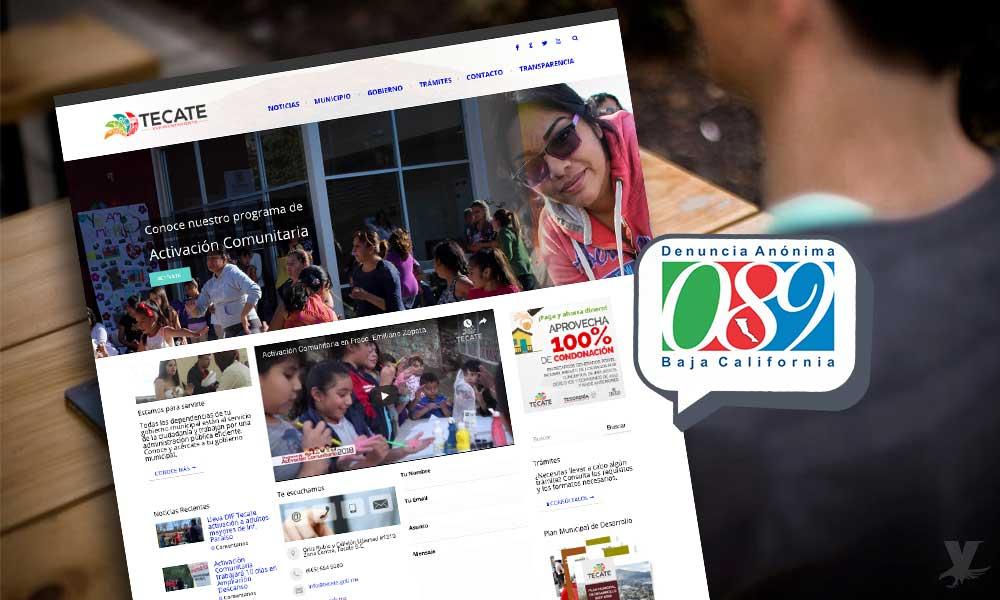 Sitio web del Ayuntamiento de Tecate anexa línea anónima 089